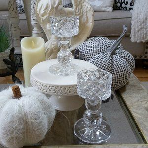 ELEGANT VINTAGE Cut CRYSTAL Candle HOLDERS OH MY!